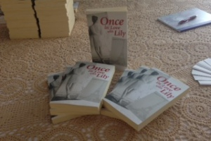 Copies of Once in Love with Lily ready to be signed